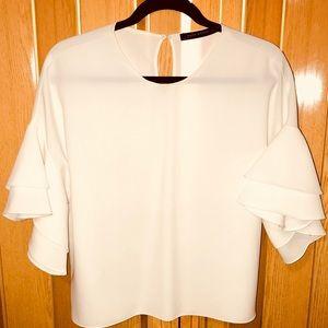 Zara White Shirt W/. Ruffled Sleeves